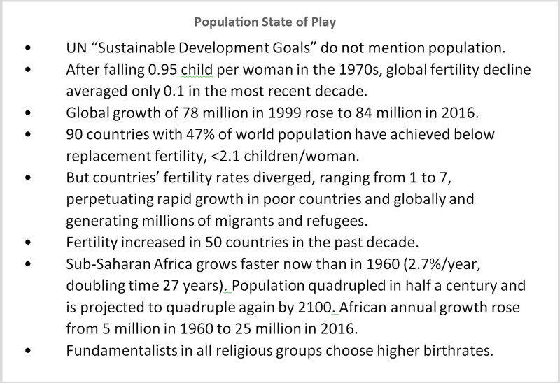 Key points from the current state of play of the population situation.