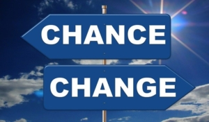 "Direction arrows pointing in opposite directions with ""chance"" and ""change"" labeled on them separately."