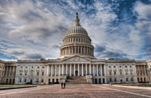 Photo of the US Capitol Building where congress votes on bills such as Forgoing Flights for America the Beautiful Act.