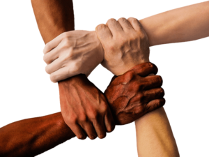 People holding each other's wrists to symbolize community