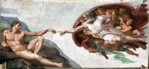 """Christ touching Adam in Michelangelo's """"Creation of Man."""""""