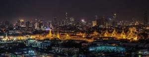 Grand Palace in Bangkok, Thailand, at night.