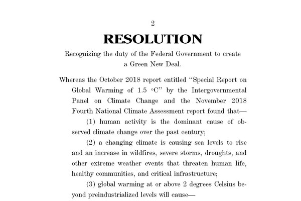 An excerpt from House Resolution 109 which calls for the creation of a Green New Deal