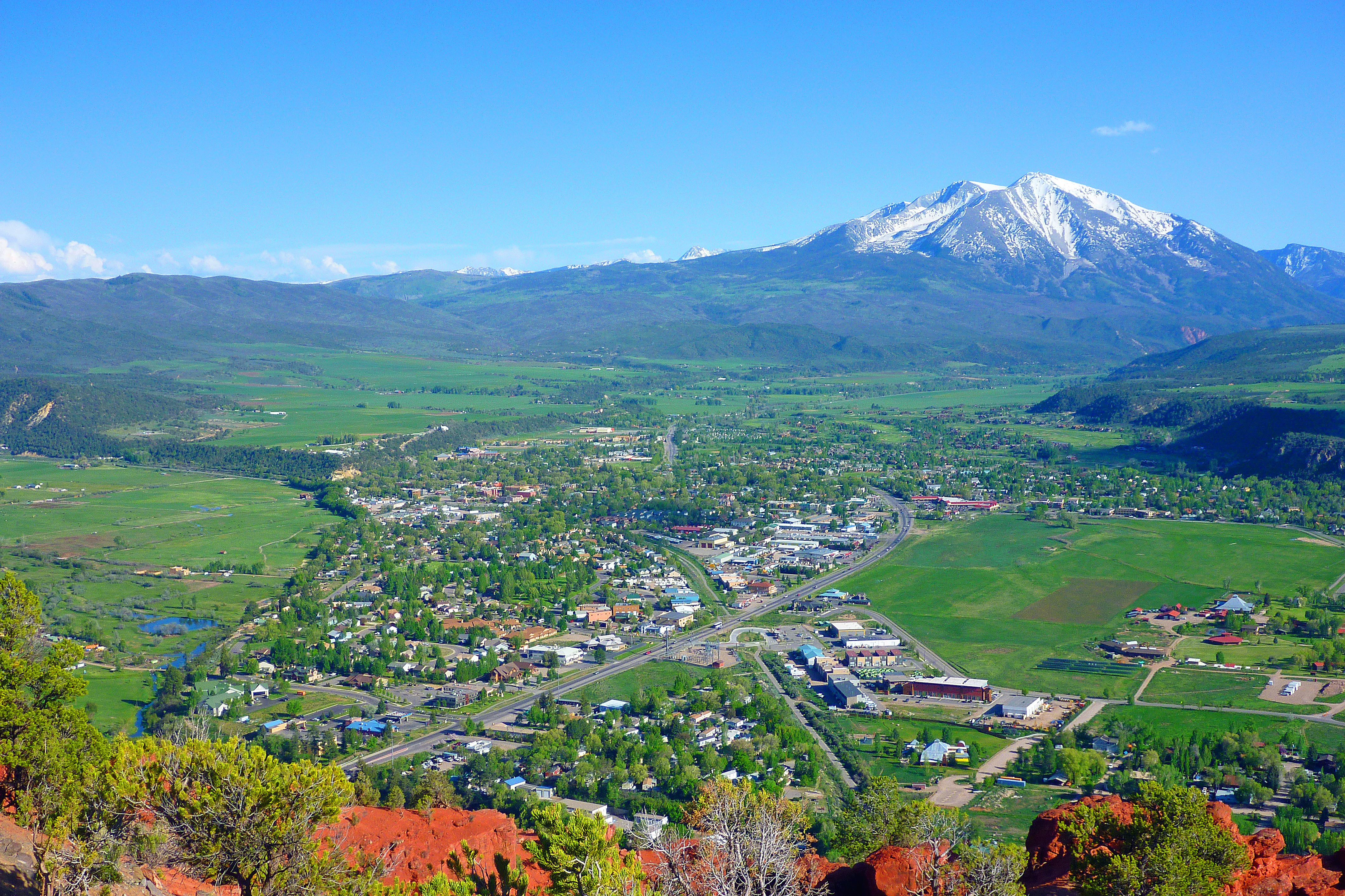 Carbondale, Colorado with Mount Sopris in the background; as viewed from Red Hill/Mushroom Rock.