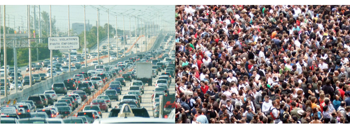 "An illustration of the ""negative externalities of overpopulation"". (Left: public domain. Right: Image by James Cridland, CC BY 2.0)"
