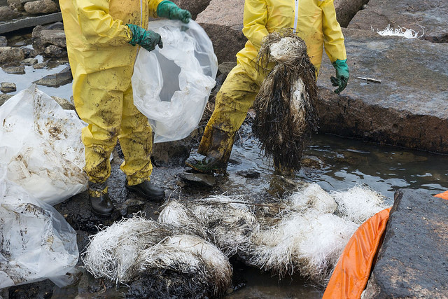 The cost of cleaning up this oil spill in Galveston, Texas is miscounted as a benefit in GDP. Photo Credit: Petty Officer 2nd Stephen Lehmann.