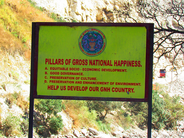gross national happiness as a development indicator Gross national happiness also includes specific indicators in the area of health, it envisions a person to have over 26 healthy days a month, have high self-reported health, and not suffer from serious deprivations because of disabilities.