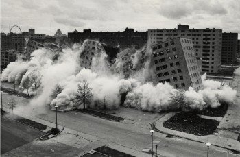 The Pruitt-Igoe demolition offers a clear warning about resorting to the slumlord model (credit: St. Louis Post Dispatch).