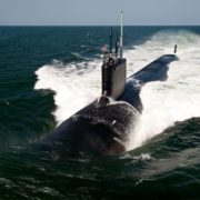 Submarine coming out of water