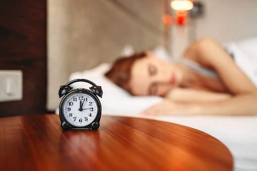 Woman waking up.