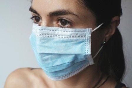 Person wearing mask because of the coronavirus.